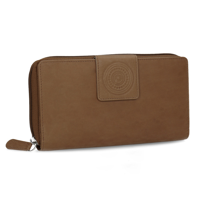 Skórzany portfel damski zdekoracyjnym elementem bata, brązowy, 944-4615 - 13