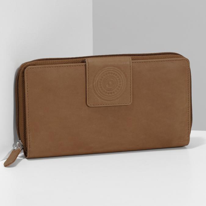 Skórzany portfel damski zdekoracyjnym elementem bata, brązowy, 944-4615 - 17