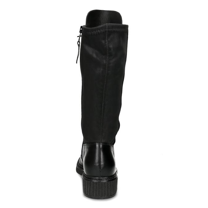 Skórzane sznurowane kozaki damskie bata, czarny, 596-6716 - 15