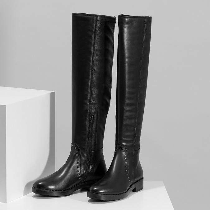 Czarne skórzane kozaki zmetalowymi ćwiekami bata, czarny, 596-6725 - 16