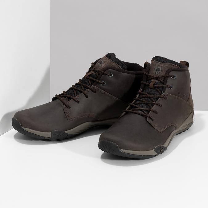 Brązowe skórzane obuwie męskie za kostkę merrell, brązowy, 806-4102 - 16