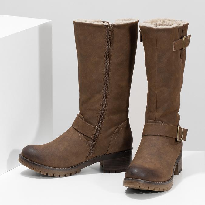 Brązowe kozaki damskie zklamrami bata, brązowy, 691-4643 - 16