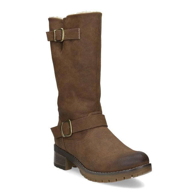 Brązowe kozaki damskie zklamrami bata, brązowy, 691-4643 - 13