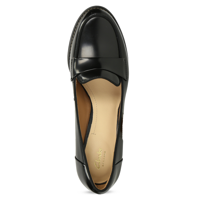 Czarne skórzane loafersy na obcasach clarks, czarny, 726-6070 - 17