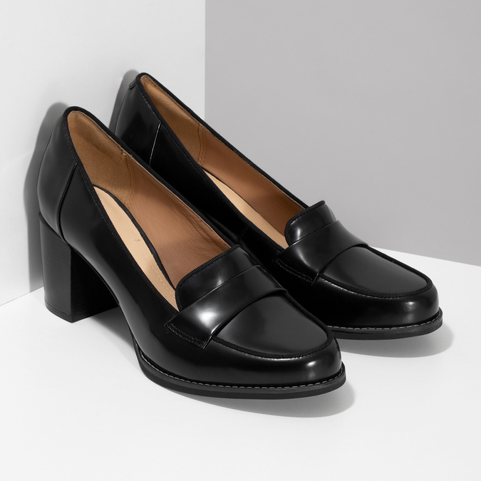Czarne skórzane loafersy na obcasach clarks, czarny, 726-6070 - 26