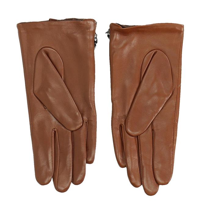 Brązowe pikowane rękawiczki damskie ze skóry bata, brązowy, 904-3108 - 16