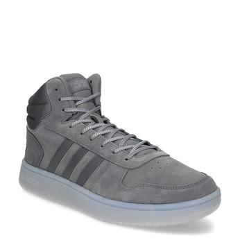 Szare skórzane trampki męskie za kostkę adidas, szary, 803-2118 - 13