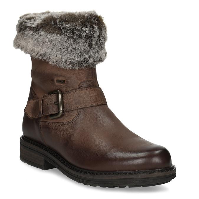 Zimowe skórzane obuwie damskie zfuterkiem bata, brązowy, 596-4701 - 13
