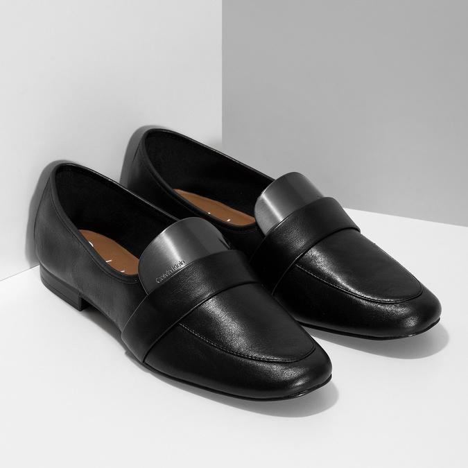 Czarne skórzane loafersy damskie calvin-klein, czarny, 514-6075 - 26