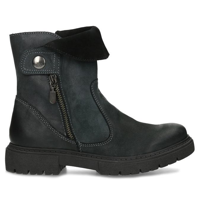 Zimowe skórzane obuwie damskie zprzeszyciami weinbrenner, czarny, 596-6751 - 19