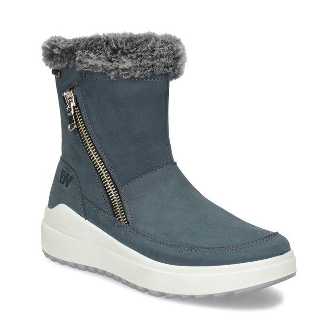 Niebieskie skórzane śniegowce damskie weinbrenner, niebieski, 593-9603 - 13
