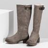 Beżowe kozaki damskie zfuterkiem bata, brązowy, 691-3643 - 16