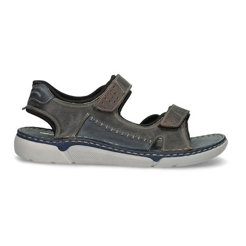 Beżowe skórzane sandały męskie na rzepy weinbrenner, brązowy, 866-2644 - 19