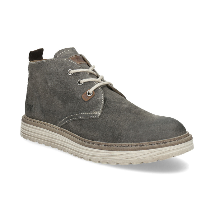 Zamszowe obuwie męskie za kostkę weinbrenner, szary, 896-2735 - 13