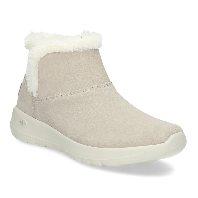 Beżowe skórzane obuwie zimowe zfuterkiem skechers, beżowy, 503-8124 - 13