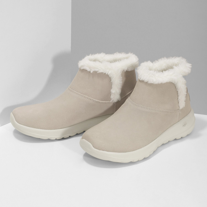 Beżowe skórzane obuwie zimowe zfuterkiem skechers, beżowy, 503-8124 - 16