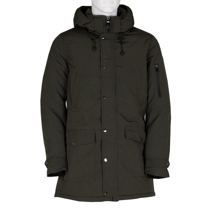 Długa kurtka męska wkolorze khaki, zkapturem bata, zielony, 979-7366 - 13
