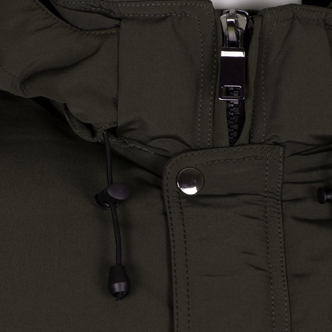 Długa kurtka męska wkolorze khaki, zkapturem bata, zielony, 979-7366 - 16