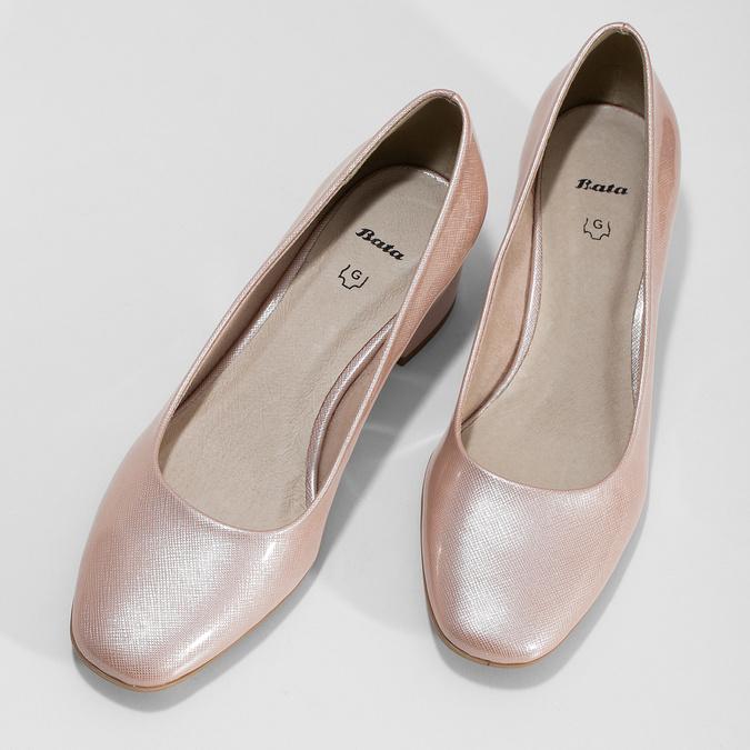 Beżowe lakierowane czółenka damskie bata, różowy, 621-5657 - 16