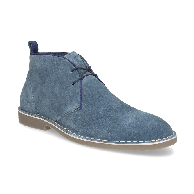 Granatowe skórzane desert boots męskie bata, niebieski, 823-9655 - 13