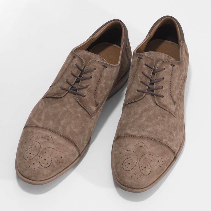 Brązowe skórzane półbuty ze zdobieniami brogue bata, brązowy, 823-3654 - 16