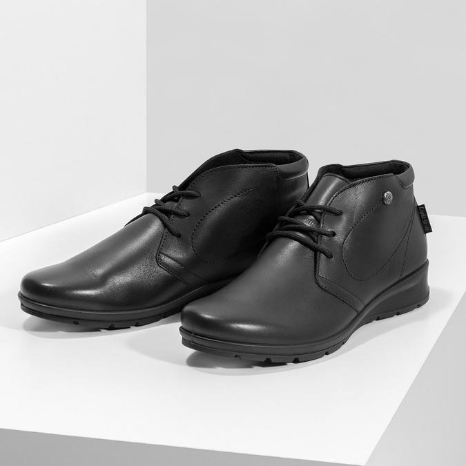 Skórzane botki damskie comfit, czarny, 594-6707 - 16